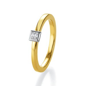 Anillo de Boda Blanco y Amarillo de  0.16ct y 2mm thumbnail