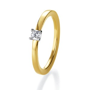 Anillo de Boda Blanco y Amarillo de  0.15ct y 2mm thumbnail