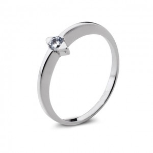 Anillo Ahhottp de Oro Blanco 1 Diamantes y 0,08 ct