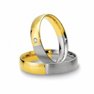 Anillo de Boda Blanco y Amarillo de  0.03ct y 4,5mm thumbnail