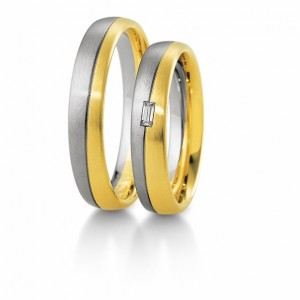 Anillo de Boda Blanco y Amarillo de  0.06ct y 4,5mm thumbnail