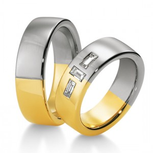 Anillo de Boda Blanco y Amarillo de  0.42ct y 7mm thumbnail