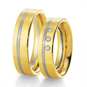 Anillo de Boda Blanco y Amarillo de  0.09ct y 6mm thumbnail