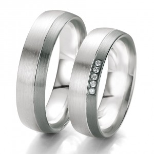 Anillo de Boda Blanco y Negro de  0.38ct y 6mm