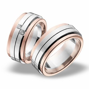 Anillo de Boda Blanco y Rosa de  0.11ct y 9mm thumbnail
